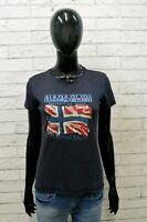 Napapijri Donna Maglia Blu Taglia XS Blusa Mania Corta Shirt Woman Polo Camicia
