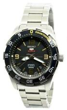 Seiko 5 Sports 100M Automatic Watch Black Dial Stainless Steel Strap