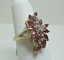 14K Yellow Gold Ruby & Diamond Cluster Style Ring-Size 6 - Estate Jewelry #8868