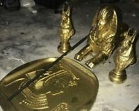 Incense Holder Set- Ancient Egyptian LOOK! Cleopatra Sphinx Anubis Painted Gold