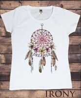 Women's White T-Shirt ,Native Indian Feathers, Dreamer  Print TS1600