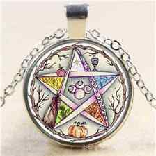 Plant Pentagram Cabochon Glass Tibet Silver Chain Pendant Necklace