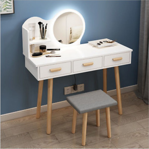 Makeup Dressing Table Vanity Set 3 Jewelry Drawers & Lighted Round Mirror White
