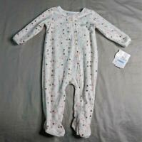 Absorba Girl's Long Sleeve Fleece Polka Dot Footed Pajama SV3 White Size 6-9M