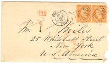 France cover - 1869 Menton to New York (USA) - Rare Pair - XF