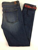 Women's Sneak Peek Skinny Jean's Size 3 Distressed Red Plaid Lining Dark Wash C1