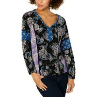 Style & Co. Womens Paisley Split Neck Bishop Sleeves Peasant Top Shirt BHFO 2927