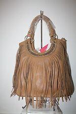 Tan/Brown Fringe Rhinestone Accent Tall Shoulder Handbag