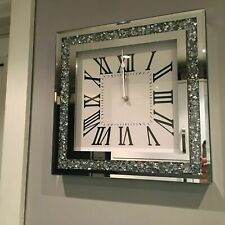 35cm Crushed Mirror Jewel wall clock roman numbers diamante mirror glass clock