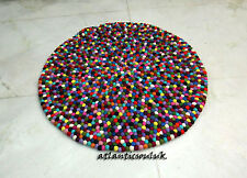 CU6 Hand Crafted Multi pom pom beads Felt Ball wool 90cm decor Cushion Round Rug