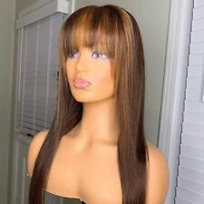 8A 150 Density Unprocessed Brazilian Blonde Highlight Human Hair Wig With Bangs