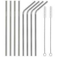 10Pcs Metal Drinking Straws Stainless Steel Drinks Straw Cleaners Reusable Bar