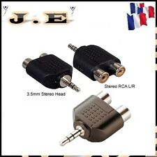 ADAPTATEUR AUDIO 2  RCA FEMELLE STEREO VERS JACK 3.5MM STEREO NEUF