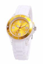 Silikon Armbanduhr Damen Kult Trend Gummi Watch Weiß / Gelb ( F1 )