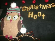 Blizzard Bay Womens Christmas Hoot Ugly Sweater Owl w/ Poms Size Small NEW (B172