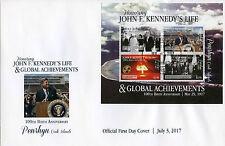 Penrhyn Cook Islands 2017 FDC John F Kennedy JFK 100th nascita 4 V M/S COPERCHIO FRANCOBOLLI
