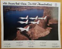 "1993 USAF THUNDERBIRDS ORIGINAL Facsimile  SIGNED Poster 14"" x 11"" + 2"