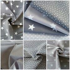 Grey & White Fabric Bundle Stars & Spots 4 Fat Quarters 100% Cotton Poplin