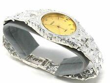 "925 Sterling Silver Nugget Link Wrist Watch Geneve Diamond Round Watch 8"""