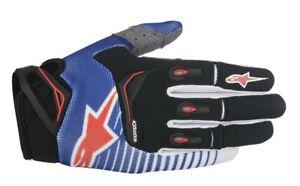 Alpinestars Techstar Gloves Blue/White/Red Motocross Mx Quad Atv Off Road