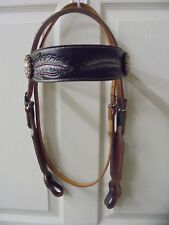Tough 1 Carved Brow and Cheek Headstall Feather Design & 4 Beautiful Conchos