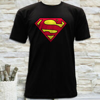 SUPERMAN CLASSIC LOGO SUPERHERO COMICS MEN'S BLACK T-SHIRT SIZE S M L XL