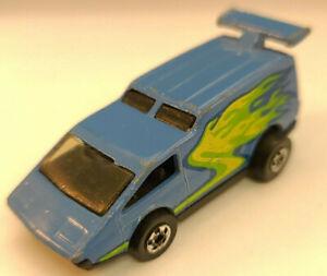 Diecast Toy Car Hotwheels Blackwall BW Spoiler Sport Blue / Yellow & Green Flame