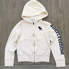 ABERCROMBIE KIDS BOYS FULL ZIP MUSCLE FIT WHITE SWEATSHIRT HOODIE S AUTHENTIC