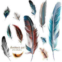 Car Stickers Pack 3D Feather Colorful Decor Decal Visual Impact Vinyl Styling