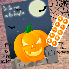 Pin the Nose on the Pumpkin - Halloween Kids Party Game - Vampire Witch Ghost