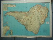 """Large Beautiful 1942 Vintage Full Color Map of South America    20 1/2"""" x 7 5/8"""""""