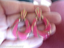 PRETTY FUCHSIA PINK ENAMEL GOLD PLATED ARTICULATED  STUD EARRINGS (PH3) 65