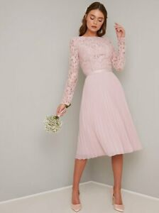 Chi Chi London Lace Midi Sleeves Occasion Evening Party Bridal  Dress 12   Pink