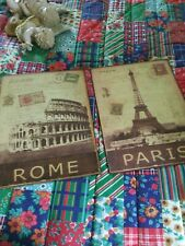 Rome. Coliseum/ Paris / Eiffel Tower Postcard Style. 2 x Metal Wall Art 10 x 13