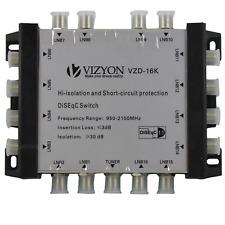 Vizyon VZD-16K DiSEqC Schalter 16/1 (16 in/1 out) für 16 Satelliten 1 Teilnehmer