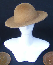 1:12 Scale Ladies Light Brown Hat Dolls House Miniature Clothing Accessory ho