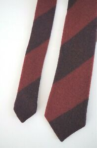 New Authentic GUCCI Striped Dark Red 100% WOOL FELTED Skinny Narrow Neck Tie