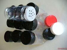 10 PCS SPICE BOTTLES JARS 4 oz PLASTIC w/Sifter 3 Color Cap Choices 4oz FREESHIP