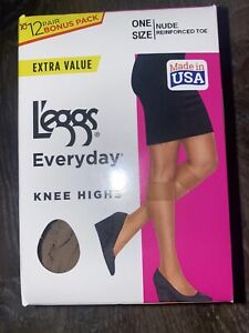 Leggs ~ 12 Pair Women's Knee Highs Pantyhose Nude Reinforced Toe ~ One Size