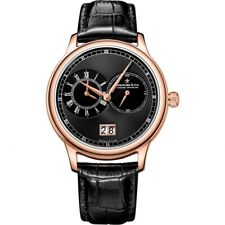 Dreyfuss & Co Series 1946 Dual Time Rose Gold Black Leather Watch *RRP £595*