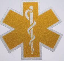 GOLD Reflective Vinyl Star Of Life Car or Fire Helmet Decal EMS EMT 2 inch