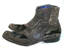 MARK NASON 12 USED/REPAIR DISTRESSED EXOTIC LEATHER/HAIR STUDDED ANKLE ZIP BOOTS