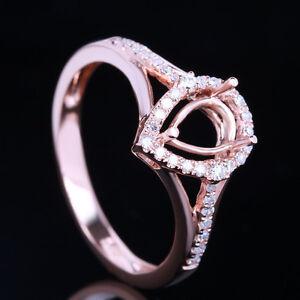 Engagement Wedding Semi Mount Ring 7x5mm Pear Cut Solid 10K Rose Gold Diamond