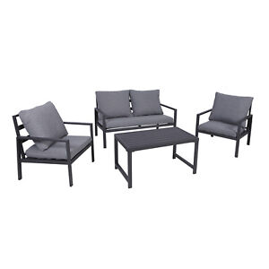 Luxus Gartenmöbel Aluminium Terrassen - Lounge Set 11-tlg Anthrazit