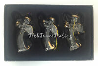 3 x Vintage Premier Hanging Glass Fairy Christmas Tree Decoration Gold Ornament