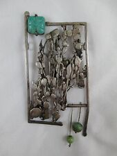 Vintage Chinese Jade Sterling Silver Abstract Poppy Pendant GIANT Artisan 153B