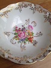 Sur Berry & Limoges Tazón festoneado Dorado Oro Con Diseño Floral
