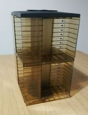 VINTAGE AUDIO CASSETTE TAPE CAROUSEL STORAGE ROTATING HOLDS 64 LOOSE 40 IN CASES