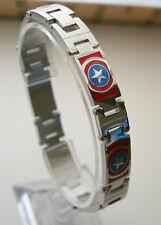 Marvel Comics Captain America Shield Mens RWB Stainless Steel Link Bracelet NOS