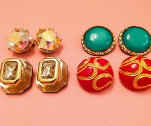 4 Pr. Designer Earrings 1 Lisner 1 Lrg. Rhinestone & Gold 1 Masassa 1 Swarovski